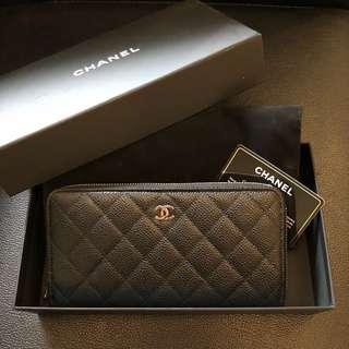 🚚 Chanel 經典 雙C logo 銀釦拉鍊長夾