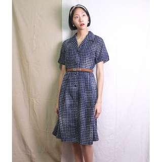 古著 潮汐觀測•海藍格子洋裝