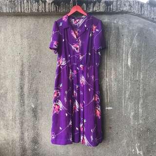 🚚 古著 紫色桃紅花洋裝