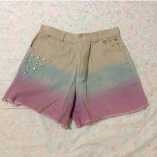 tie-dyed khaki shorts with stud details