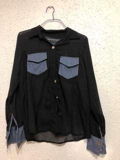 Black see through Long sleeve top
