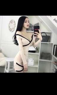 Women sexy low chest cross v collar tight bag hip skirt show chest long sleeve dress spring summer
