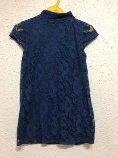 Zara Blue Top with floral design