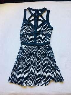 Strappy front & Back B&W Skater Dress