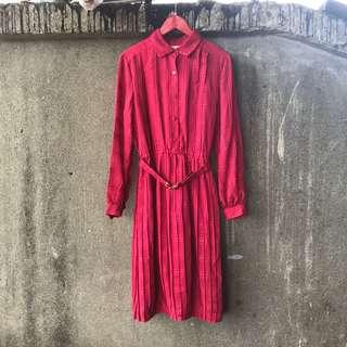 🚚 古著 紅色格紋洋裝(附腰帶、瑕疵)