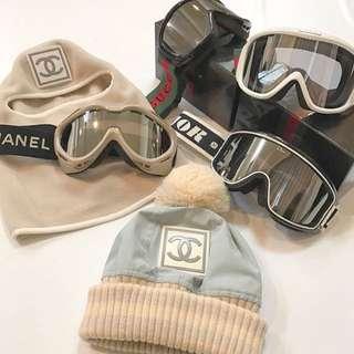 Chanel baby 藍針織大logo毛毛球滑雪帽🏂