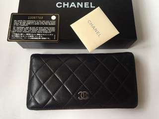 Authentic Chanel Quilted lambskin Porte Yen Wallet