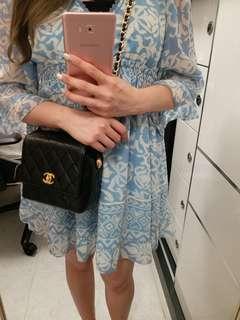 👜現貨美品 Vintage Chanel菠蘿扣黑色羊皮方形小手袋 方胖子