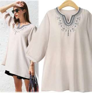 (XL~5XL) 2018 European V-neck embroidered blouse five-point sleeve blouse