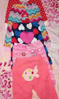 Pajamas 5pcs and overall w/ tshirt(take all for 600)