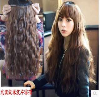 Curly clip on hair extension ( black)