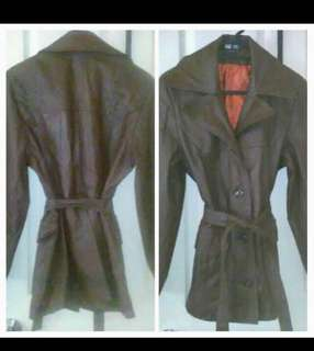 AUTHENTIC LEATHER JACKET WITH TIE WAIST