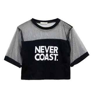 Short Sleeve Letter Printed Net Yarn T-Shirts