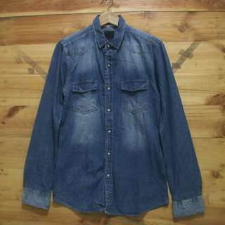 Cotton on wash denim snap button longsleeve shirt original