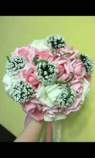 結婚 粉紅色白色花球 bouquet