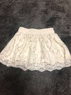 Forever 21 Ivory Patterned Crochet Mini Skirt