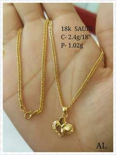 Saudi gold necklace 18k