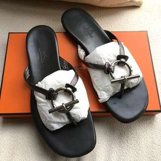Hermes   leather sandals shoes  **Made in Italy  **Size 38