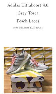 Adidas Ultraboost 4.0 Grey Tosca Peach Laces 100% ORIGINAL BASF ADIDAS BOOST
