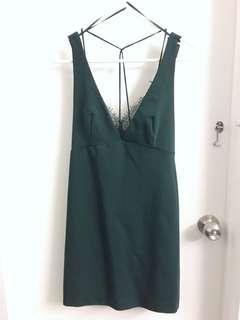 ZARA Dark Green Lace Dress