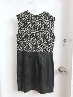 ANOTHER Leopard-print Leather Dress