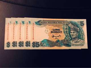 Malaysia $5 (7th Series) - 5 consecutive pieces