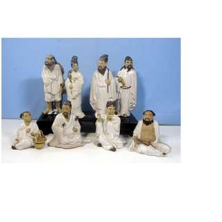 Antique Chinese Taoist Porcelain Deities 8 Immortals Wood Stand circa 1960s