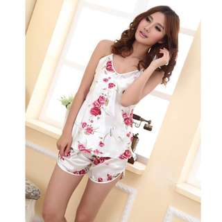 Floral silk camisole and shorts set