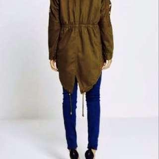 Brave soul hooded khaki jacket