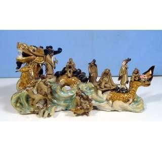 Antique Lingnan ceramic statue 8 immortal dragon deer hand crafted circa1930s