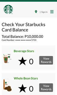 Starbucks Reward Card with 10K.