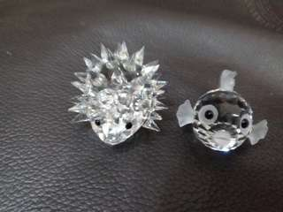Swarovski Crystal Hedgehog & Mini Blowfish