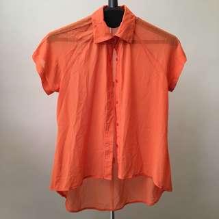 DETAILS Orange Chiffon Blouse