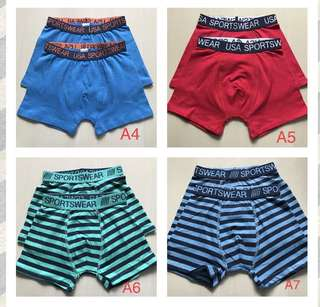 Boys Underwear- 110-116cm- for 4-5 years old , 1 for $3.50,3 above $2.each