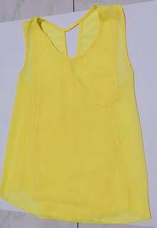 Yellow chiffon summer blouse