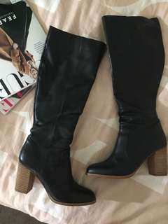 WINDSOR SMITH BELOW-THE-KNEE BLK LEATHER BOOTS