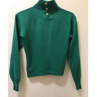 Salvatore Ferragamo Green Wool Sweater Turtle Neck Top