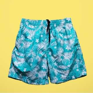 Beach Summer Board Shorts Teal Floral