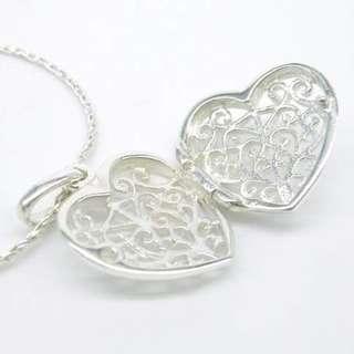 925 silver heart pendant necklace 925 純銀心心通花盒頸鏈