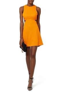 Sale! TOPSHOP Mustard Solid Rib Cut-Out Skater Dress