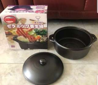 Like new hand made japan clay pot 7000cc multi purpose 32cm x 13.5cm japanese claypot japan cooking
