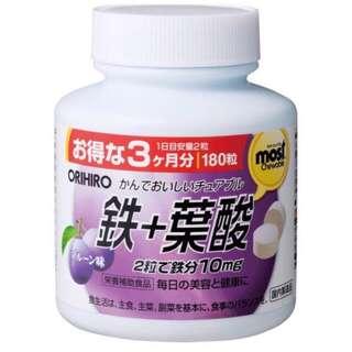 🚚 日本 ORIHIRO 鐵 + 葉酸 180錠 3個月份 咀嚼錠 礦物質 美味的梅乾味營養補給品