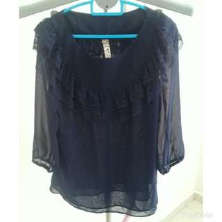 lace blue top blouse