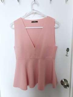 ZARA Pastel Pink Peplum Top