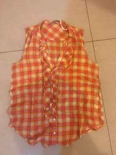 Zara plaid sleeveless shirt