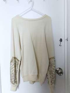 ZARA Embellished Sleeve Sweatshirt