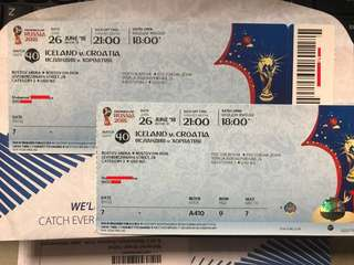 World Cup Ticket Category2 x 2tickets