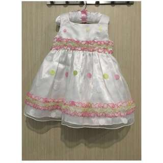 Colourful Polka Dot White Dress 24M