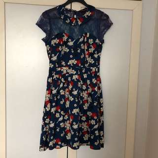 Japanese Floral Inspired Lace Top Dress