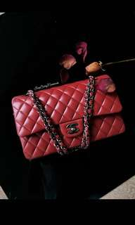 CHANEL red Classic Flap Double Flap M/L